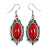 Vintage Inspired Oval Red Ceramic Stone Filigree Drop Earrings In Silver Tone - 50mm Long
