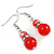 Red Glass Crystal Drop Earrings In Silver Tone - 40mm L - view 4