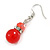 Red Glass Crystal Drop Earrings In Silver Tone - 40mm L - view 5