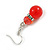 Red Glass Crystal Drop Earrings In Silver Tone - 40mm L - view 6