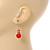 Red Glass Crystal Drop Earrings In Silver Tone - 40mm L - view 3