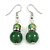 Green Glass Crystal Drop Earrings In Silver Tone - 40mm L
