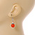Orange Glass Crystal Drop Earrings In Silver Tone - 40mm L - view 2