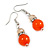 Orange Glass Crystal Drop Earrings In Silver Tone - 40mm L - view 4