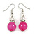 Pink Glass Crystal Drop Earrings In Silver Tone - 40mm L