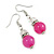Pink Glass Crystal Drop Earrings In Silver Tone - 40mm L - view 4