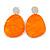 Statement Orange Acrylic Curvy Oval Drop Earrings In Matt Silver Tone - 65mm L - view 5
