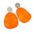 Statement Orange Acrylic Curvy Oval Drop Earrings In Matt Silver Tone - 65mm L - view 4