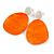 Statement Orange Acrylic Curvy Oval Drop Earrings In Matt Silver Tone - 65mm L