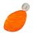 Statement Orange Acrylic Curvy Oval Drop Earrings In Matt Silver Tone - 65mm L - view 6