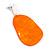 Statement Orange Acrylic Curvy Oval Drop Earrings In Matt Silver Tone - 65mm L - view 7