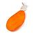 Statement Orange Acrylic Curvy Oval Drop Earrings In Matt Silver Tone - 65mm L - view 8