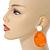 Statement Orange Acrylic Curvy Oval Drop Earrings In Matt Silver Tone - 65mm L - view 3