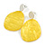 Statement Pineapple Yellow Acrylic Curvy Oval Drop Earrings In Matt Silver Tone - 65mm L