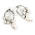 Stylish Twisted Circle with Freshwater Pearl Flower Drop Earrings In Silver Tone Metal - 35mm L