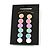 Set of 6 Pairs Button Stud Earrings In Silver Tone In Pastel Colours - 10mm Diameter - view 3