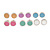 Set of 6 Pairs Button Stud Earrings In Silver Tone In Pastel Colours - 10mm Diameter - view 5