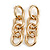 Polished Gold Tone Chunky Oval Link Drop Earrings - 70mm Long