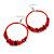 Large Red Glass, Shell, Wood Bead Hoop Earrings In Silver Tone - 75mm Long