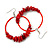 Large Red Glass, Shell, Wood Bead Hoop Earrings In Silver Tone - 75mm Long