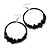 Large Black Glass, Shell, Wood Bead Hoop Earrings In Silver Tone - 75mm Long
