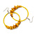 Large Yellow Glass, Shell, Wood Bead Hoop Earrings In Silver Tone - 75mm Long