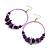 Large Purple Glass, Shell, Wood Bead Hoop Earrings In Silver Tone - 75mm Long - view 3