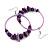 Large Purple Glass, Shell, Wood Bead Hoop Earrings In Silver Tone - 75mm Long