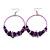 Large Purple Glass, Shell, Wood Bead Hoop Earrings In Silver Tone - 75mm Long - view 4