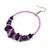 Large Purple Glass, Shell, Wood Bead Hoop Earrings In Silver Tone - 75mm Long - view 5