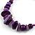 Large Purple Glass, Shell, Wood Bead Hoop Earrings In Silver Tone - 75mm Long - view 6