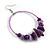 Large Purple Glass, Shell, Wood Bead Hoop Earrings In Silver Tone - 75mm Long - view 7