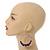 Large Purple Glass, Shell, Wood Bead Hoop Earrings In Silver Tone - 75mm Long - view 2