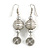 White Glass Bead with Wire Element Drop Earrings In Silver Tone - 6cm Long