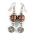 Brown Glass Bead with Wire Element Drop Earrings In Silver Tone - 6cm Long