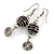 Black Glass Bead with Wire Element Drop Earrings In Silver Tone - 6cm Long