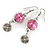 Pink Glass Bead with Wire Element Drop Earrings In Silver Tone - 6cm Long