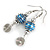 Blue Glass Bead with Wire Element Drop Earrings In Silver Tone - 6cm Long