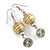 Daffodil Yellow Glass Bead with Wire Element Drop Earrings In Silver Tone - 6cm Long