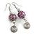 Purple Glass Bead with Wire Element Drop Earrings In Silver Tone - 6cm Long