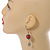Red Glass Bead with Wire Element Drop Earrings In Silver Tone - 6cm Long - view 3
