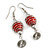 Red Glass Bead with Wire Element Drop Earrings In Silver Tone - 6cm Long - view 4