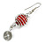 Red Glass Bead with Wire Element Drop Earrings In Silver Tone - 6cm Long - view 5