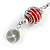 Red Glass Bead with Wire Element Drop Earrings In Silver Tone - 6cm Long - view 6