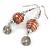 Orange Glass Bead with Wire Element Drop Earrings In Silver Tone - 6cm Long