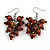 Brown Wooden Bead Cluster Drop Earrings in Silver Tone - 55mm Long
