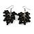 Black Wooden Bead Cluster Drop Earrings in Silver Tone - 55mm Long