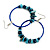 Large Blue/ Teal Glass, Shell, Wood Bead Hoop Earrings In Silver Tone - 75mm Long