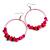 Large Glass, Shell, Wood Bead Hoop Earrings In Silver Tone (Deep Pink, Baby Pink) - 75mm Long