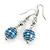 Silver Tone Blue Faux Pearl Drop Earrings - 5cm Long - view 3